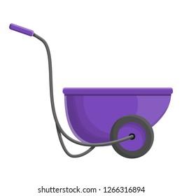 Purple wheelbarrow icon. Cartoon of purple wheelbarrow vector icon for web design isolated on white background