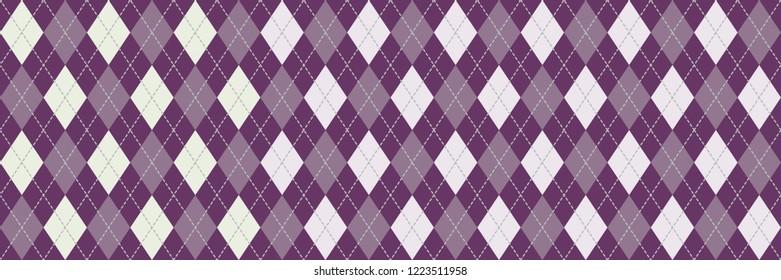 Purple and White Argyle Banner