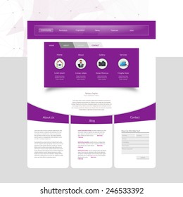 Purple and White Business website template in editable vector format
