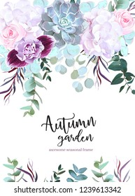 Purple, white and pink flowers vector design card. Rose, carnation, orchid, echeveria succulent, eucalyptus, agonis, hydrangea. Floral border. Autumn mood composition. Isolated an editable