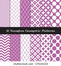 Purple and White Retro Geometric Seamless Patterns. Orchid Color Mod Backgrounds in Jumbo Polka Dot, Diamond Lattice, Scallops, Quatrefoil and Chevron. Pattern Swatches made with Global Colors.