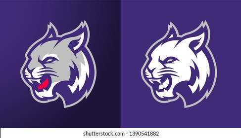 Purple Wildcat Vector Logo For Sports Team Mascot