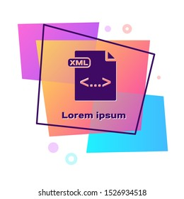 Purple XML file document. Download xml button icon isolated on white background. XML file symbol. Color rectangle button. Vector Illustration