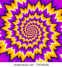 Purple and yellow spirals. Optical expansion illusion.