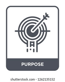 purpose icon vector on white background, purpose trendy filled icons from Startup stategy and success collection, purpose simple element illustration