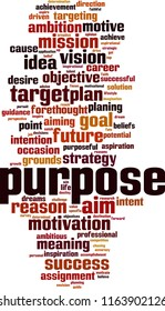 Purpose word cloud concept. Vector illustration