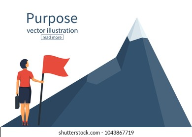 Purposeful businesswoman with flag in hand. Beginning of way to achievement of goal. Standing in front climb to mountain. Purpose concept. Vector illustration flat design. Aspirational people. Mission