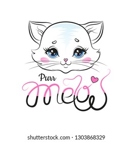 Purr Meow Kitty With Hand Lettering. Vector Illustration.