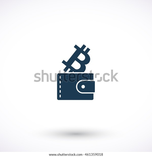 Purse with bit coin vector icon. Graphic symbol for web design, logo. Isolated sign on a white background.