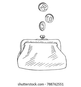 Purse with coins pour into it, hand drawn doodle sketch, isolated vector outline illustration