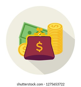 Purse icon with coins. Flat design. Vector illustration handbag with coins icon