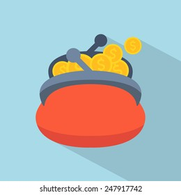 Purse icon with coins. Flat design. Vector illustration