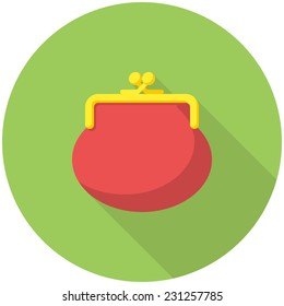 Purse icon (flat design with long shadows)