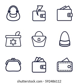 purse icons set. Set of 9 purse outline icons such as make up bag, woman bag, Wallet, bag, wallet