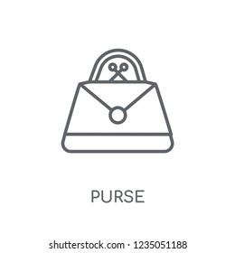 Purse linear icon. Modern outline Purse logo concept on white background from e-commerce and payment collection. Suitable for use on web apps, mobile apps and print media.