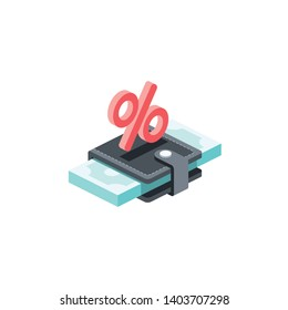 Purse money percent. Vector 3d isometric color icon new flat style. Creative illustration, idea for infographics.