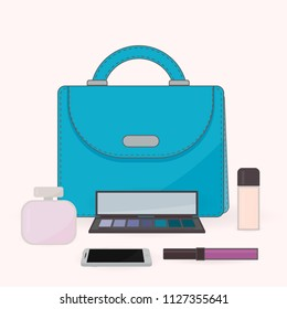 Purse, perfume, cosmetics and mobile phone. The contents of a woman's handbag. Vanity table. Concept of beauty bloggers, fashion and glamour. Easy to edit vector design for social media, etc.