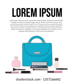 Purse, perfume, cosmetics and mobile phone. The contents of a woman's handbag. Concept of beauty bloggers, fashion and glamour. Easy to edit vector design for social media, makeup artists card, etc.