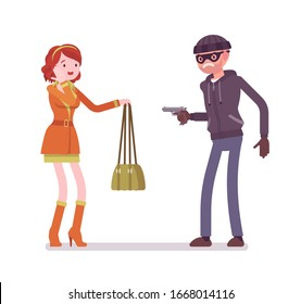 Purse snatcher, thief grabbing a girl, threatening with a gun. Masked criminal, bandit pulling a weapon on young woman to steal a handbag on street. Vector flat style cartoon illustration