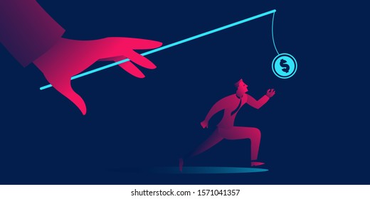 The Pursuit of Money business concept in red and blue neon gradients. Hand with fishing rod and coin