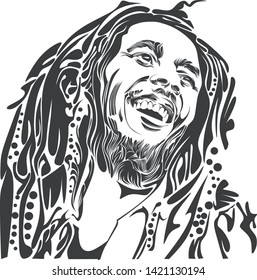 Purwokerto, indonesia - june 11 2019: bob marley on line art illustration.isolated