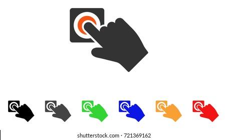 Push Alarm Button icon. Vector illustration style is a flat iconic push alarm button symbol with black, grey, green, blue, red, orange color additional versions.