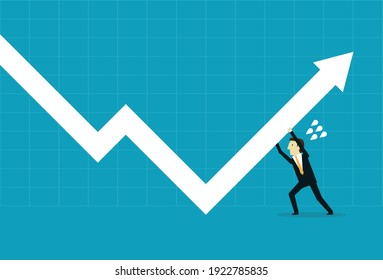 Push the business graph higher, Vector illustration in flat style