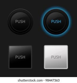 Push button. Keyboard black buttons on black background. Useful for web design (websites). Vector illustration