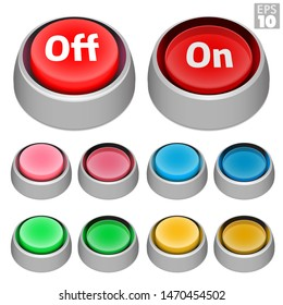 Push buttons with on off state and aluminum style mounting bezel, pressed and unpressed in various retro arcade colors.