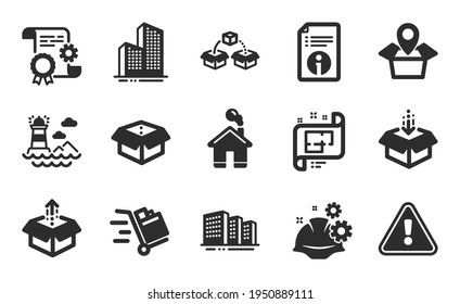 Push cart, Lighthouse and Working process icons simple set. Parcel shipping, Construction document and Skyscraper buildings signs. Buildings, Package location and Send box symbols. Vector