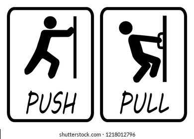 Push door sign and pull door sign