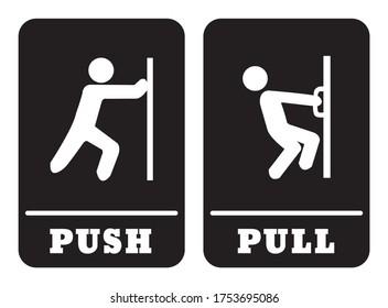Push door sign and Pull door sign.