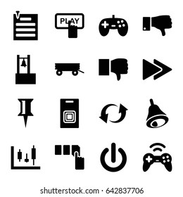 Push icons set. set of 16 push filled icons such as barrow, finger pressing play button, push button, pin, dislike, update, fast forward, paper pin, bell, door bell, joystick