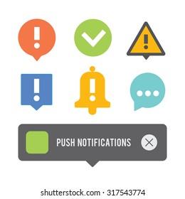 Push notifications elements icons set.