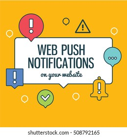 Push notifications elements linear icons set with text. Modern vector design element on white background, flat outline design.