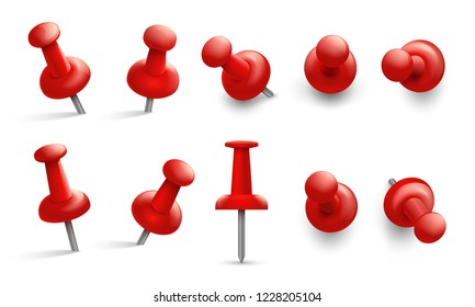Push pin in different angles. Red thumbtack for attachment. Pushpins with metal needle and red head isolated vector set