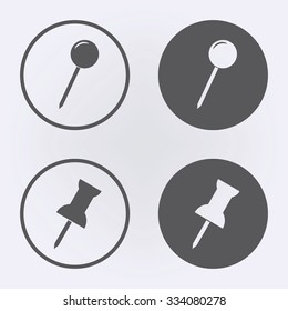 Push pin icon set in circle . Vector illustration