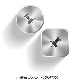 Push pin. Vector set steel buttons