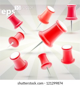 Push pins set made of red glossy plastic, high quality eps10 vector