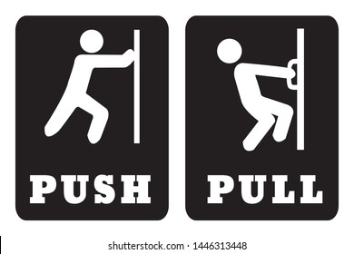 Push and Pull door sign on black background