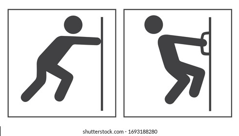 PUSH AND PULL,  door sign, vector illustration