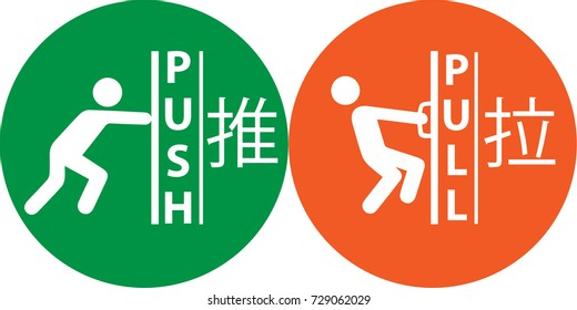 Push and pull icon, Nameplate