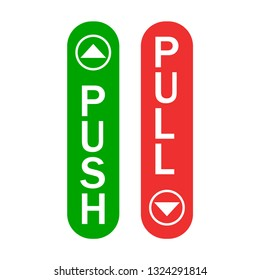 Push and pull sign green and red color with arrows simple sign isolated. EPS 10