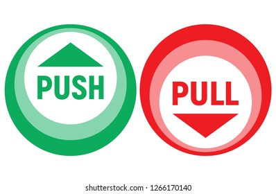 Push - pull sign. Vector illustration.