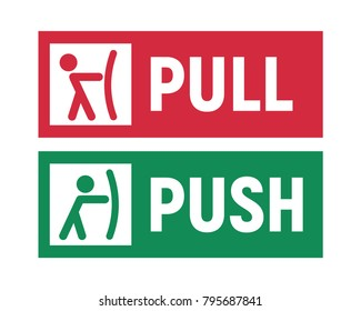 push and pull signs on doors vector illustration