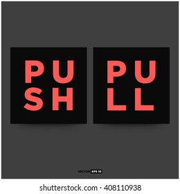 Push Pull Signs (Vector Concept Illustration)