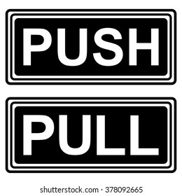 PUSH AND PULL SIGNS , vector illustration, icons