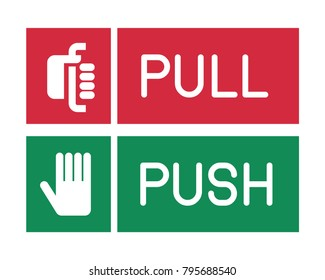 Push or Pull signs. Vector illustration.