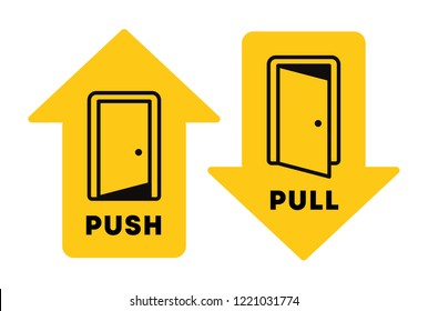 Push and pull vector icon on a yellow arrow. Outline door illustration design for door opening instructions. Push and pull sign, vector graphic elements, tempalte for door stickers.