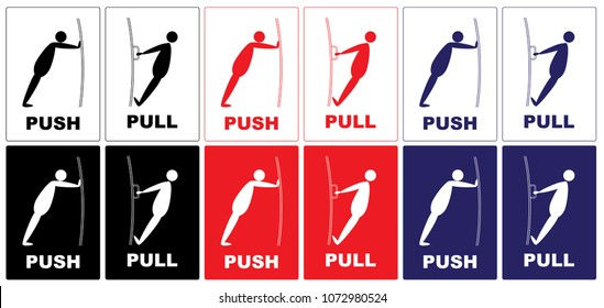 Push Pull.Cartoon actions of a man with a door.blue,black,red color.push pull text on color background.